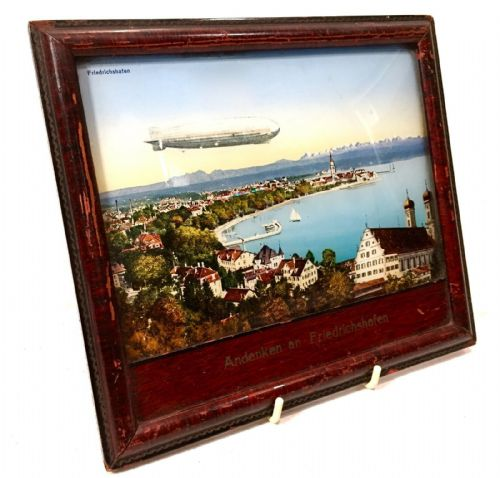 Antique Reverse Glass Painting German City Friedrichshafen With Zeppelin Airship